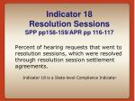indicator 18 resolution sessions spp pp158 159 apr pp 116 117