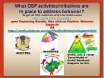 what osp activities initiatives are in place to address behavior