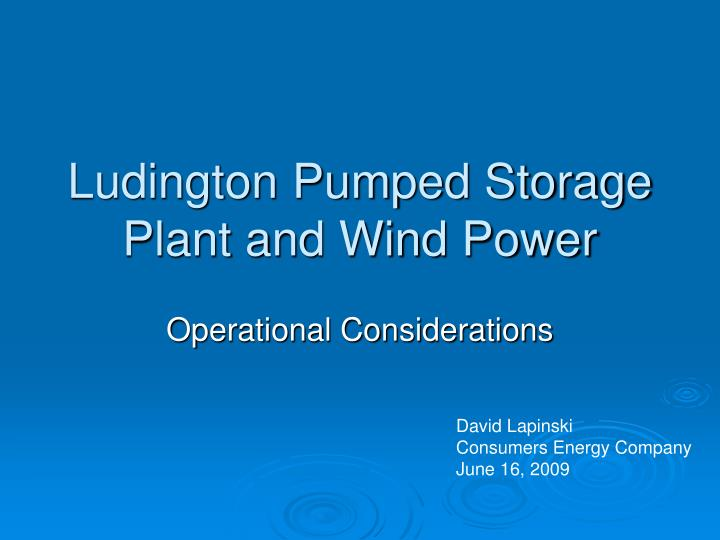 ludington pumped storage plant and wind power n.