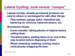 lateral cycling junk versus junque