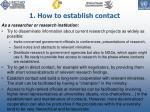 1 how to establish contact