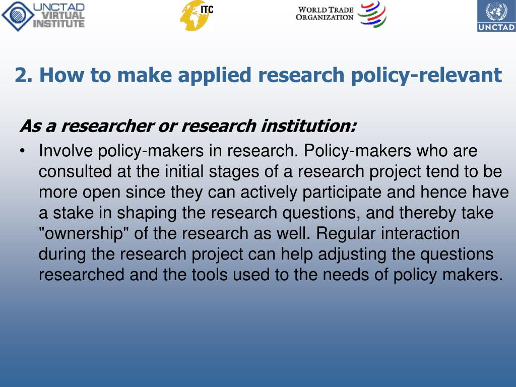 2. How to make applied research policy-relevant