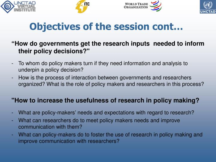 Objectives of the session cont