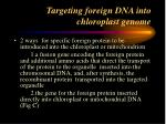 targeting foreign dna into chloroplast genome
