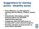 suggestions for starting points disability sector