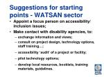 suggestions for starting points watsan sector