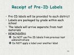 receipt of pre id labels