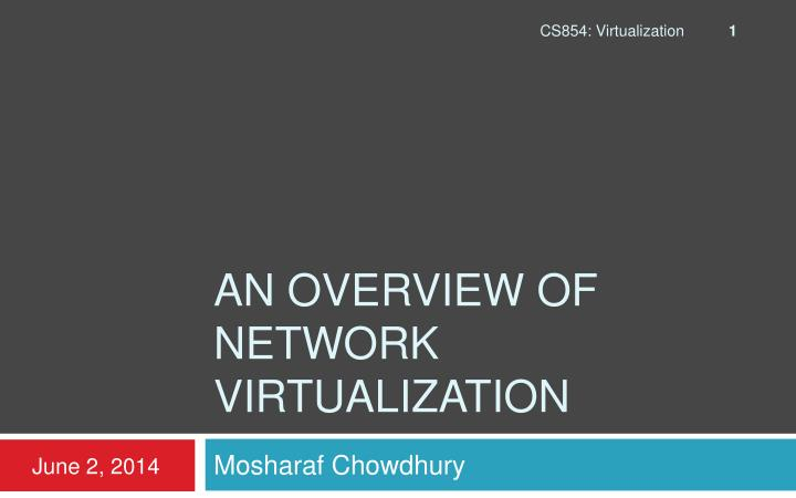 an overview of network virtualization n.