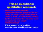 triage questions qualitative research