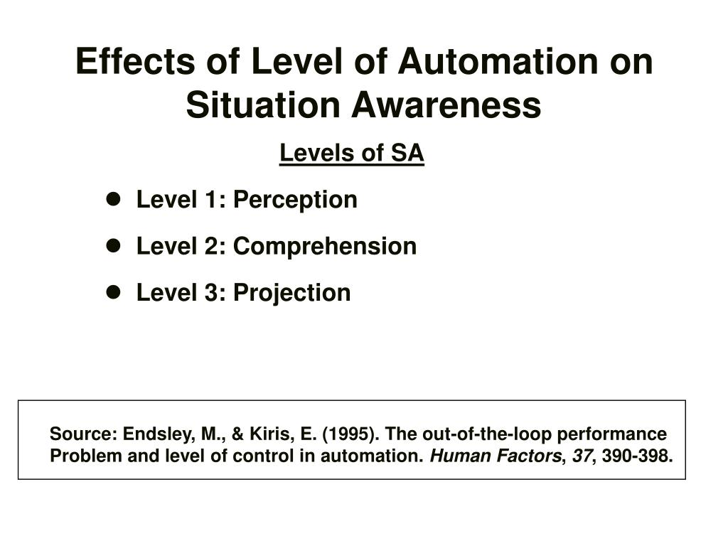 Effects of Level of Automation on Situation Awareness
