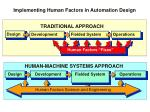 implementing human factors in automation design