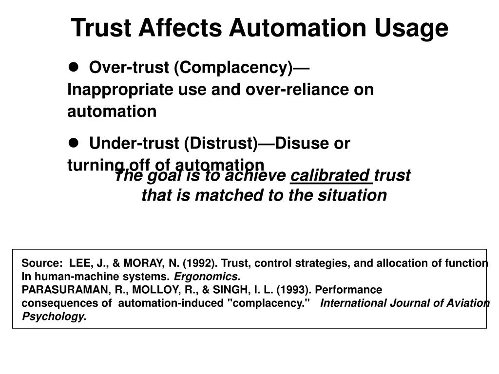 Trust Affects Automation Usage