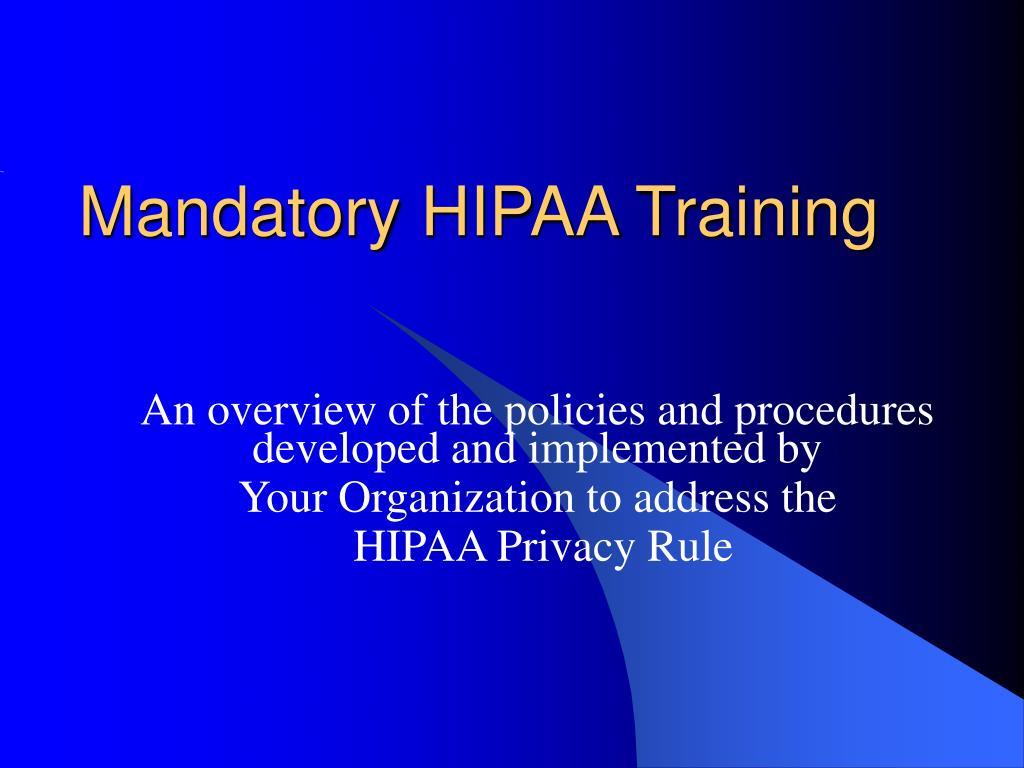 mandatory hipaa training l.