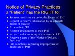 notice of privacy practices a patient has the right to