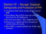 section iv storage disposal safeguards and protection of phi