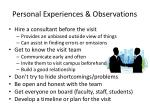 personal experiences observations