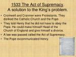 1533 the act of supremacy a solution to the king s problem