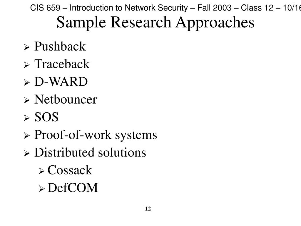 Sample Research Approaches