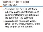 content of the ict curricula