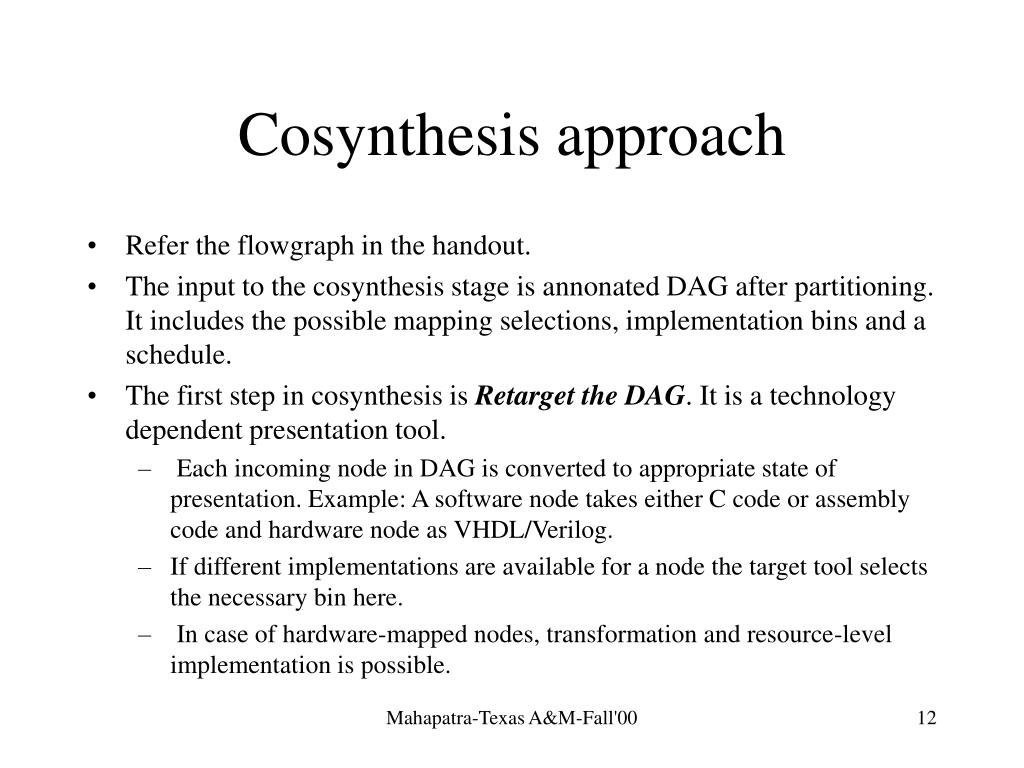 Cosynthesis approach