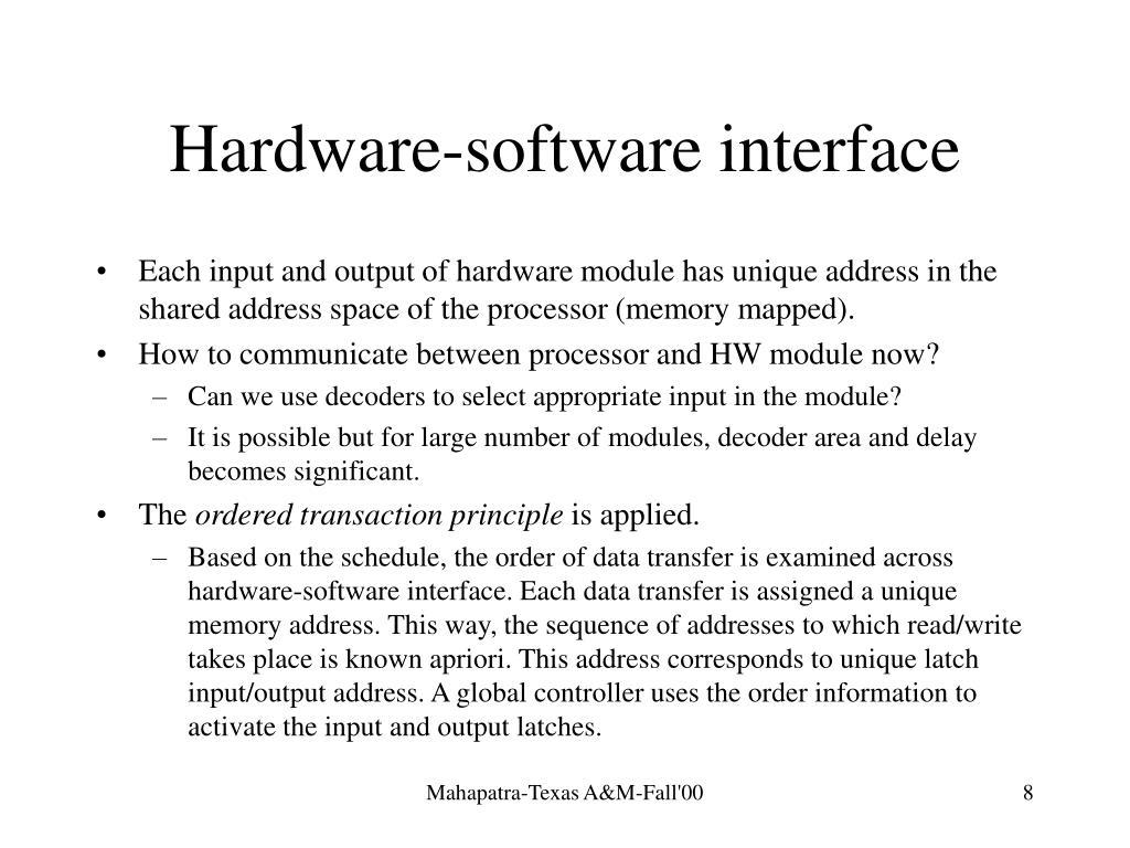 Hardware-software interface