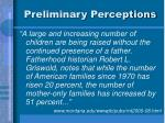 preliminary perceptions