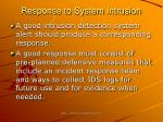 response to system intrusion