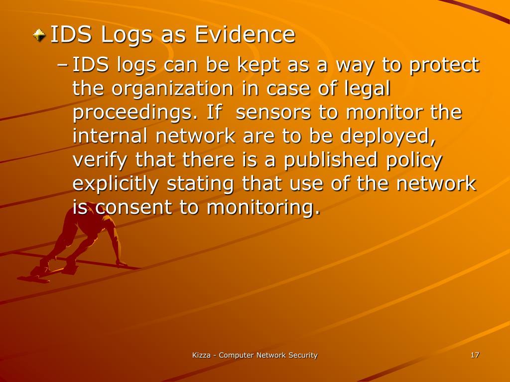 IDS Logs as Evidence