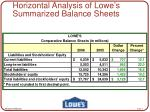horizontal analysis of lowe s summarized balance sheets4
