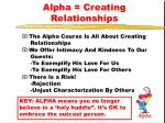 alpha creating relationships