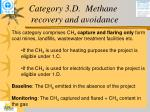 category 3 d methane recovery and avoidance