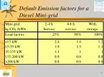 default emission factors for a diesel mini grid