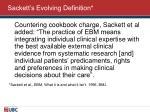 sackett s evolving definition