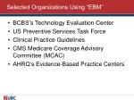 selected organizations using ebm