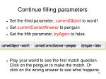 continue filling parameters