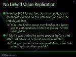 no linked value replication