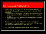 mclawsuit 2002 2003