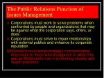 the public relations function of issues management