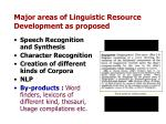 major areas of linguistic resource development as proposed