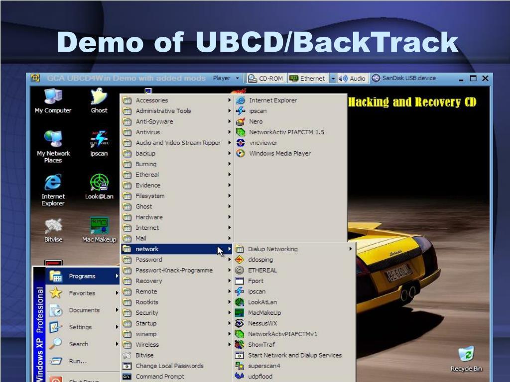 Demo of UBCD/BackTrack