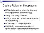 coding rules for neoplasms