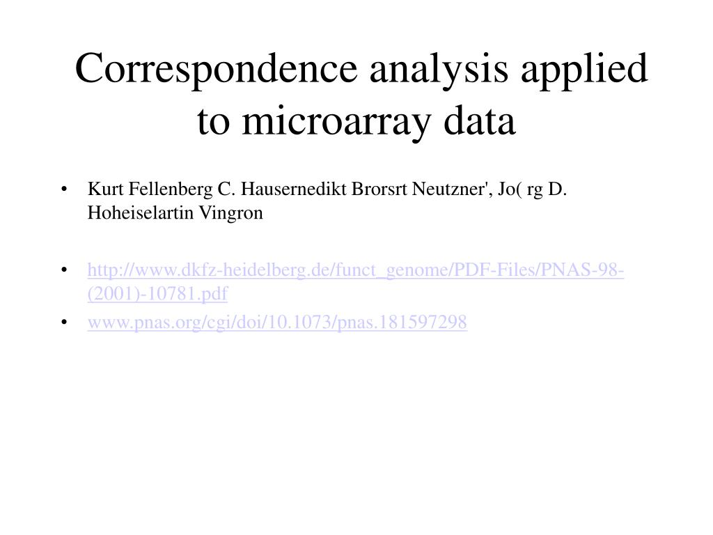 correspondence analysis applied to microarray data l.