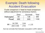 example death following accident evacuation