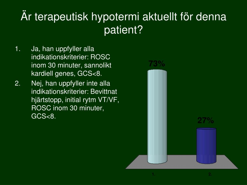 Är terapeutisk hypotermi aktuellt för denna patient?