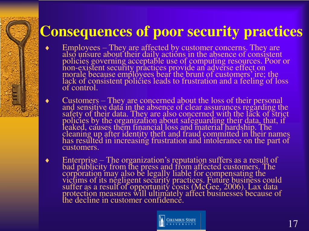 Consequences of poor security practices