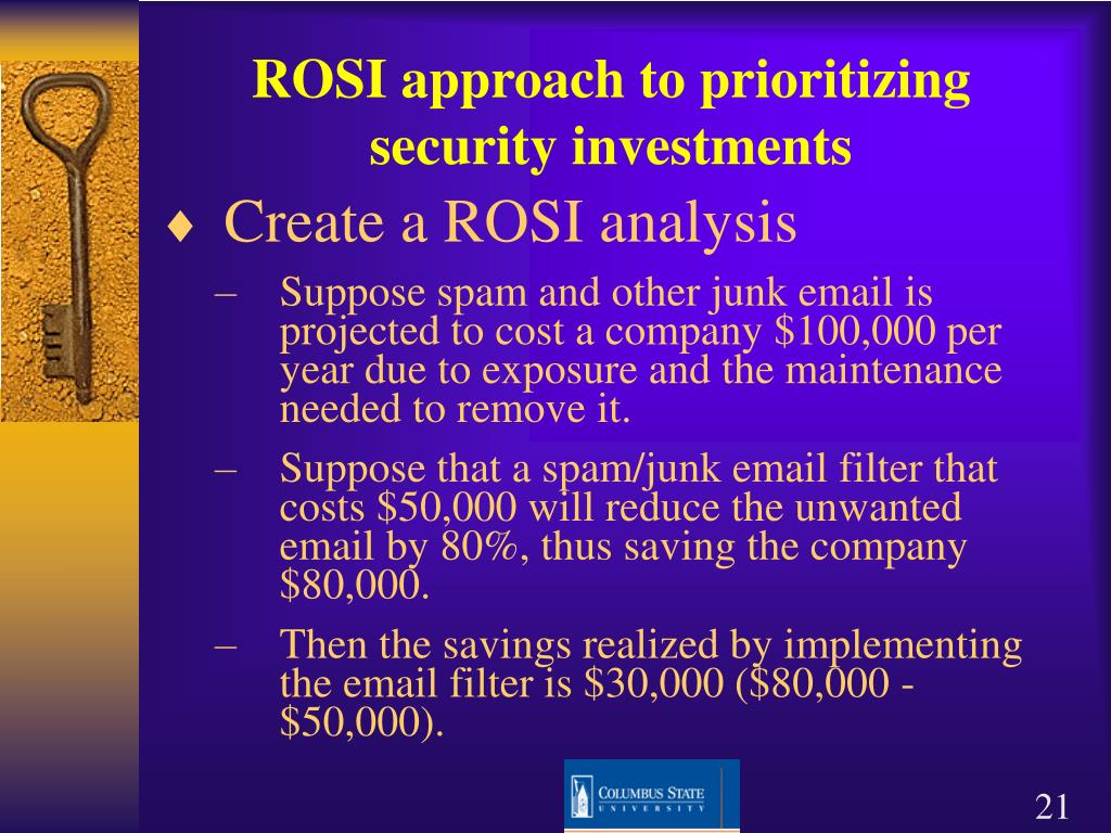 ROSI approach to prioritizing security investments