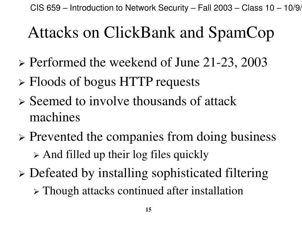 Attacks on ClickBank and SpamCop