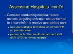 assessing hospitals cont d