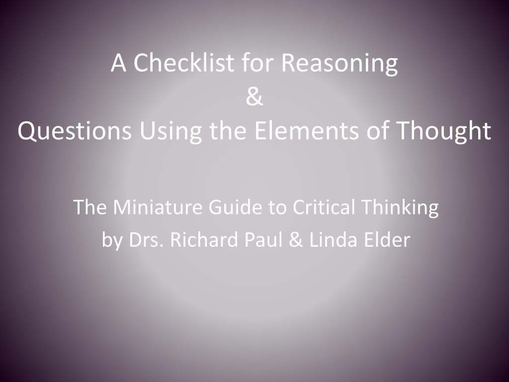 a checklist for reasoning questions using the elements of thought l.