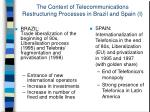 the context of telecommunications restructuring processes in brazil and spain i